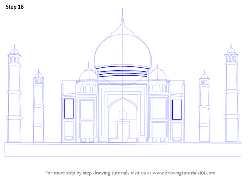 844x598 Learn How To Draw Taj Mahal (Wonders Of The World) Step By Step