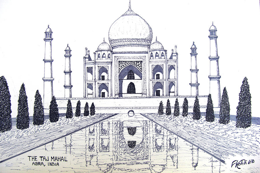 900x599 taj mahal drawing by frederic kohli