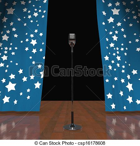 450x470 Microphone On Stage Shows Concert Or Talent Show. Microphone