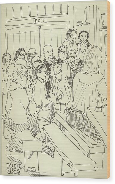 387x618 Peace Camp Talent Show Crowd Drawing By James Christiansen