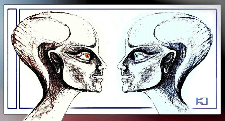 900x486 Androids Talking Drawing By Hartmut Jager