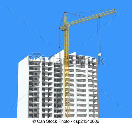 450x422 Crane Against New Building. Construction Site With Crane