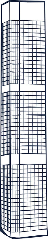 162x800 Downtown Tall Building Childish Drawing Stickers By Zebar Finch