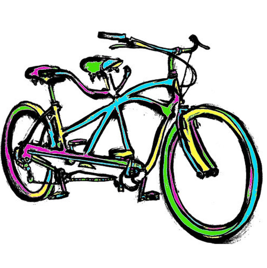 899x900 Neon Black Light Response Tandem Bicycle For Two Drawing By Levi