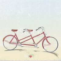 200x200 Red Tandem Bicycle Drawing Stock Vectors