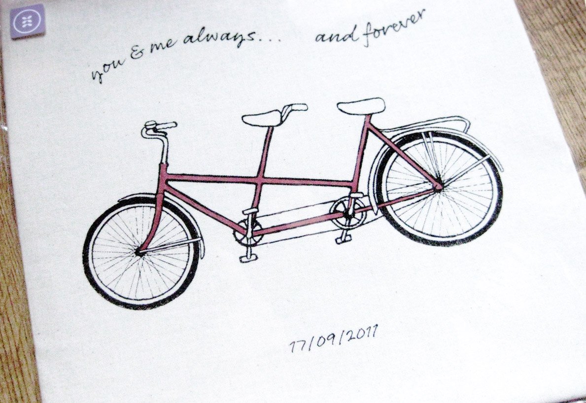 1189x819 Tandem Bicycle Line Drawing Screen Printed Onto Fabric