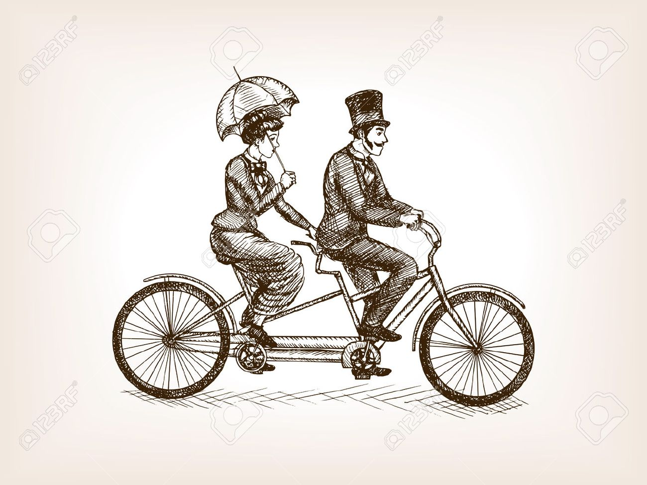 1300x975 Vintage Lady And Gentleman Ride Tandem Bicycle Sketch Style Vector