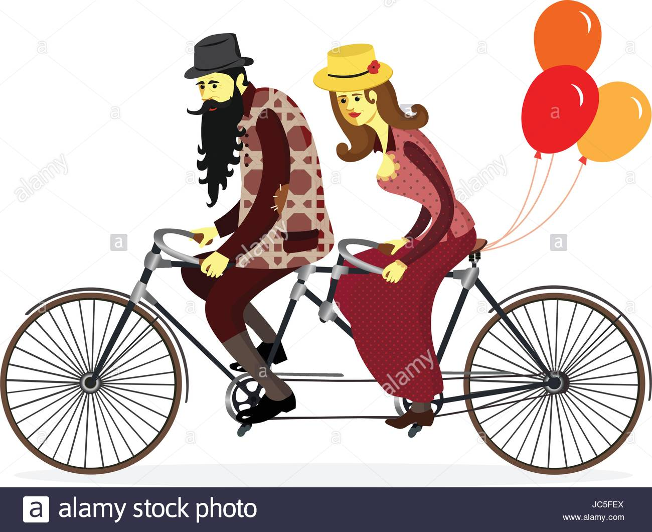 1300x1060 Couple Of Cyclists On Tandem Bicycle With Balloons.vector Stock