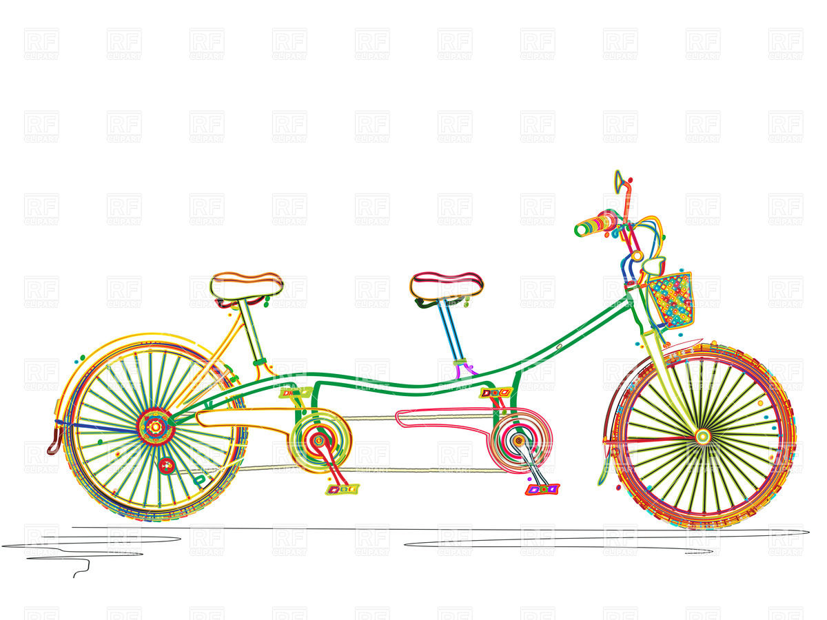 1200x900 Stylized Colored Tandem Bicycle Royalty Free Vector Clip Art Image