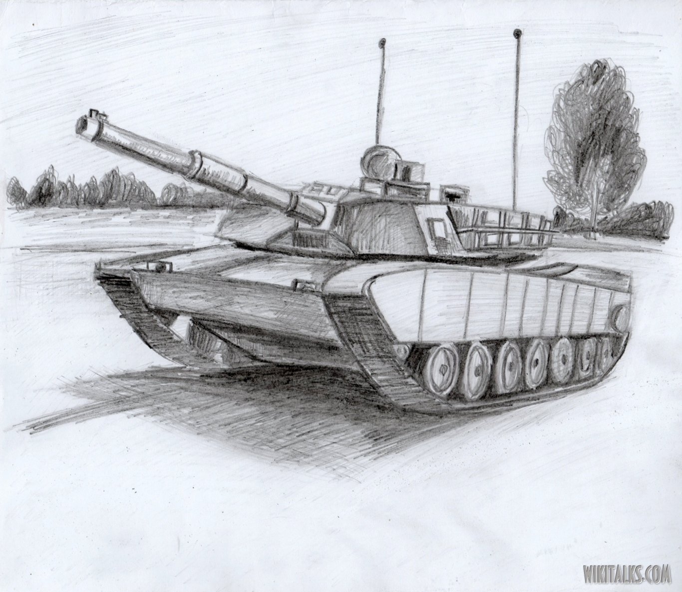 1366x1186 How To Draw A Tank In Pencil And Paint It In Colors Wiki Talks