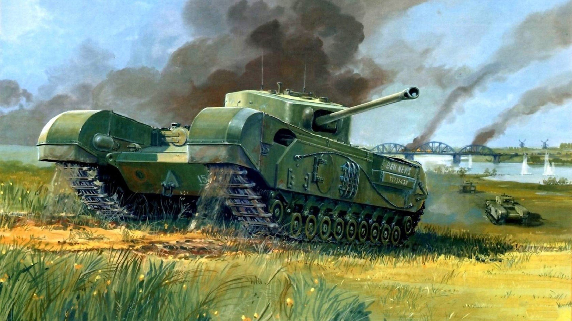1920x1080 Infantry Tank Picture War Bridge Tank Drawing Hd Wallpaper