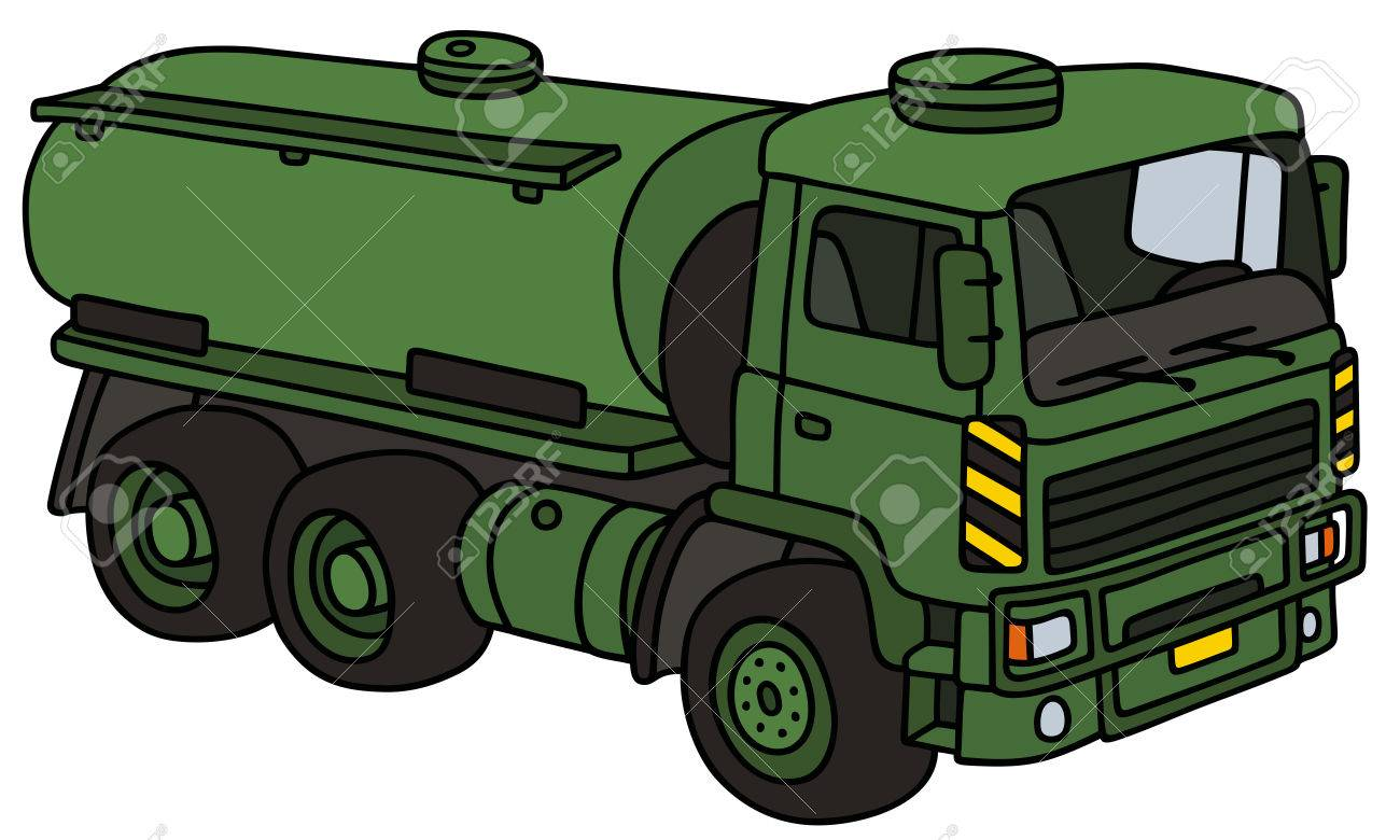 1300x780 Hand Drawing Of A Green Military Tank Truck