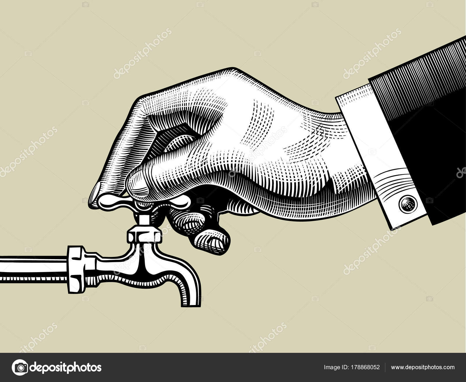 1600x1310 Hand Opening Water Tap Stock Vector Maystra