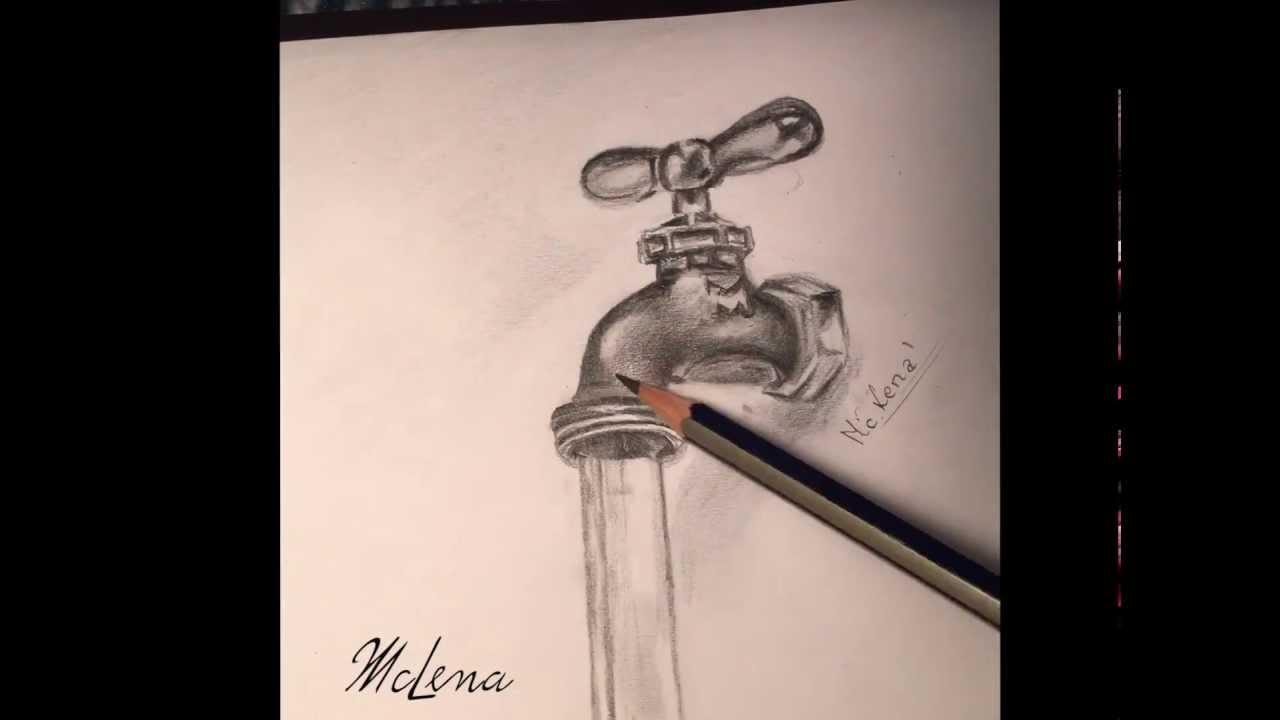1280x720 Realistic Drawing.faucet.kran.3d Rysowanie Time Laps, Calligraphy
