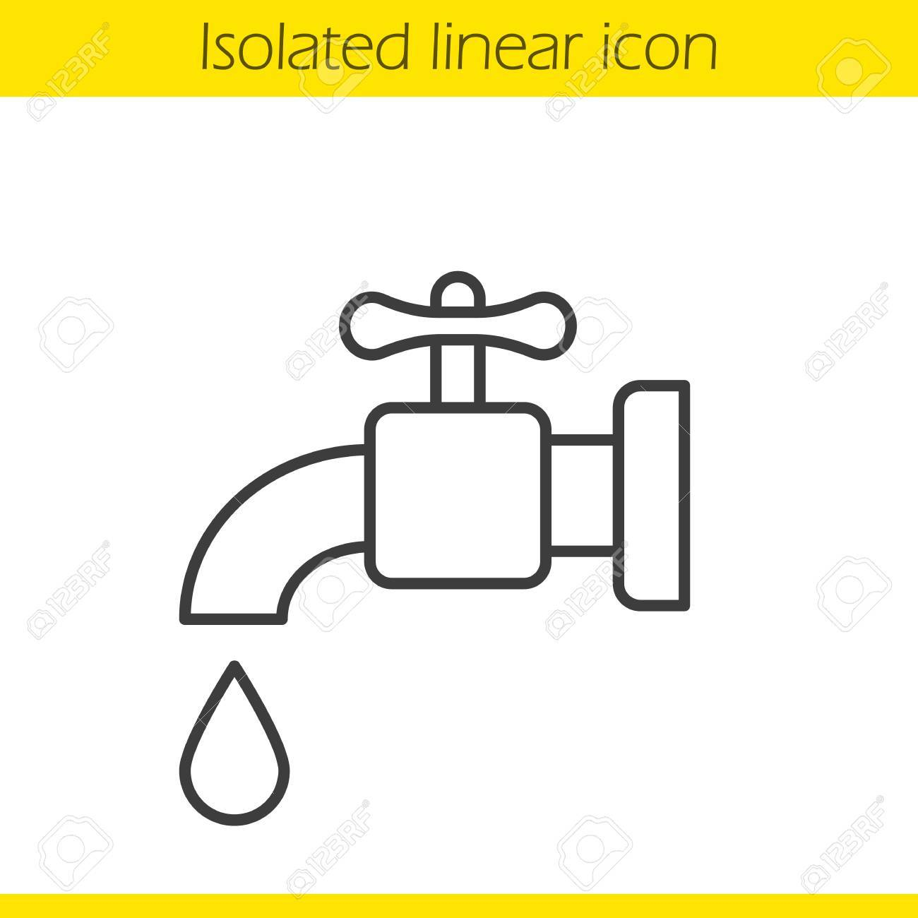 1300x1300 Water Faucet Linear Icon. Tap Thin Line Illustration. Open Faucet