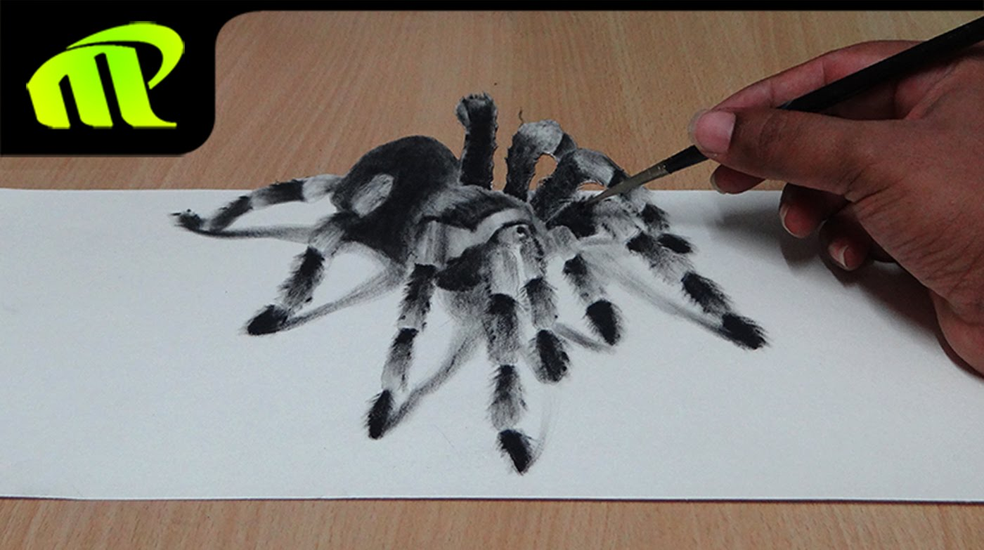 1400x783 How To Draw 3d Spider