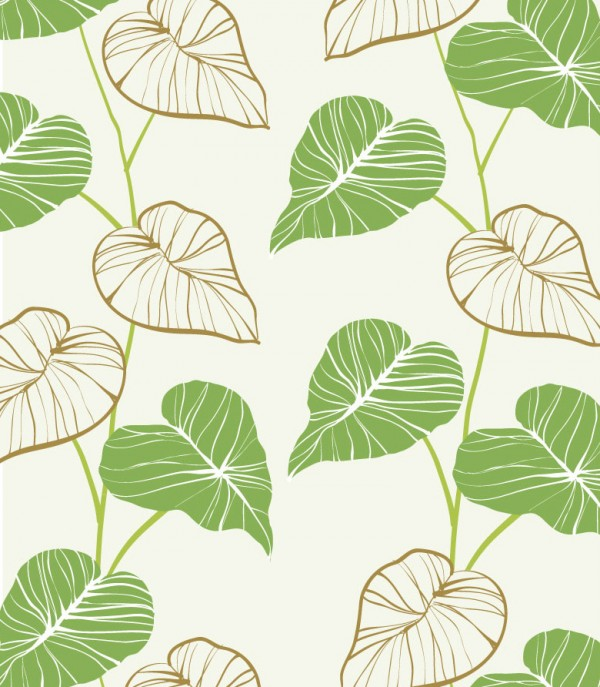 600x687 Hand Painted Green Leaves Background