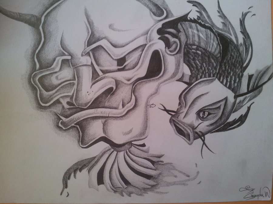 900x675 Tattoo Design Chinese Demon And Coy Fish Drawing By