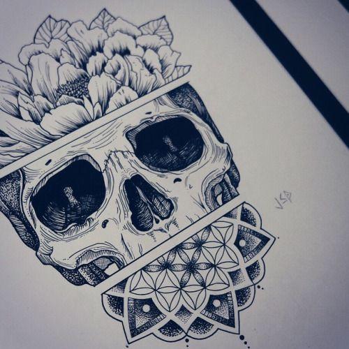 500x500 Skull Mandala Drawing