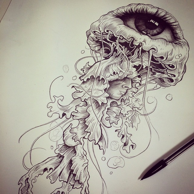640x640 jellyfish tattoo drawing