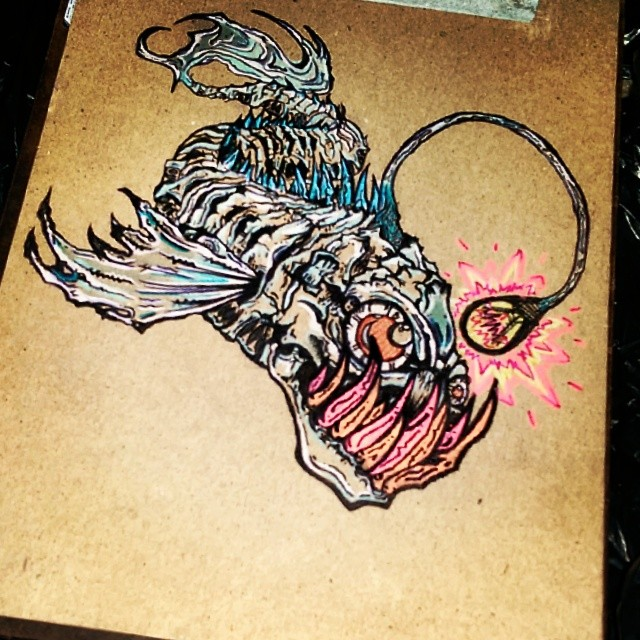 640x640 Angler Fish Tattoo Designs