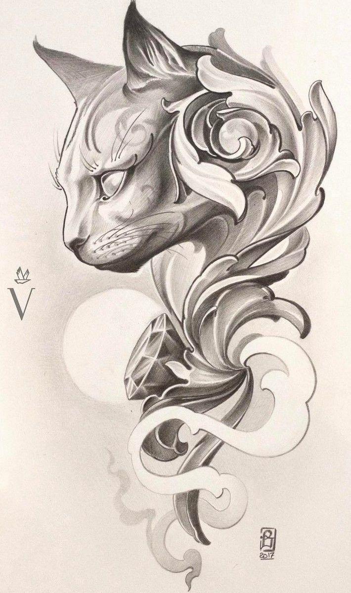 710x1200 Cat Tattoo Design. Insp