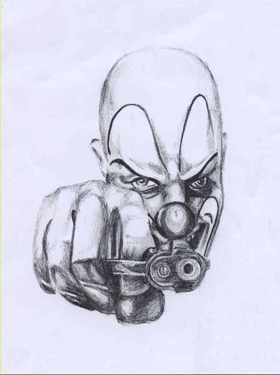 573x768 Marvelous Simple Gangsta Tattoo Design On Paper