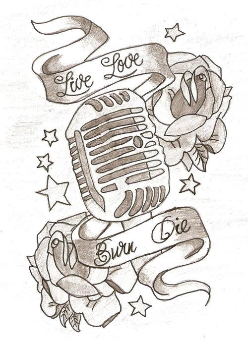 500x700 Microphone Tattoo Drawings