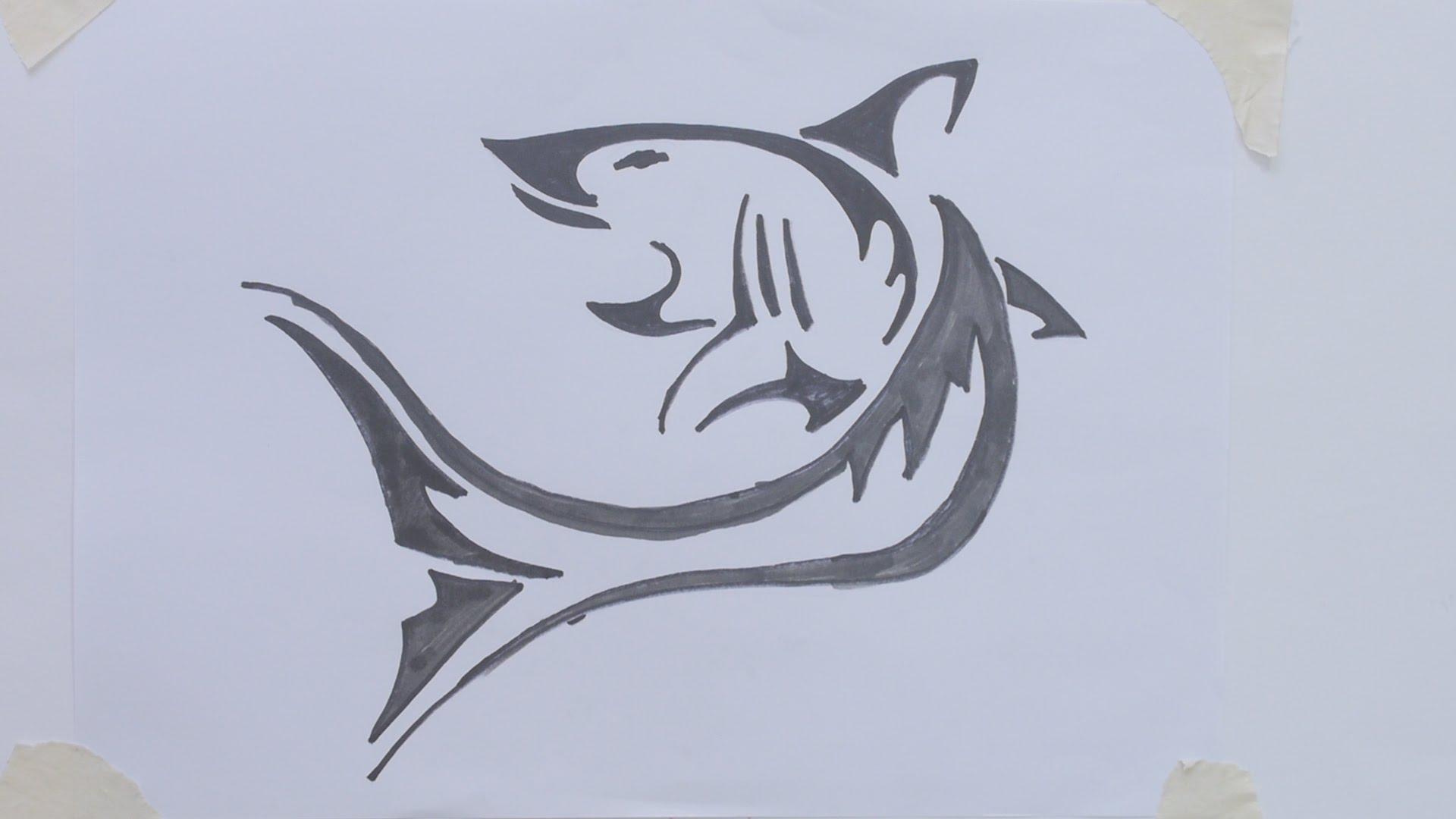 1920x1080 How To Draw Shark Tribal Tattoo