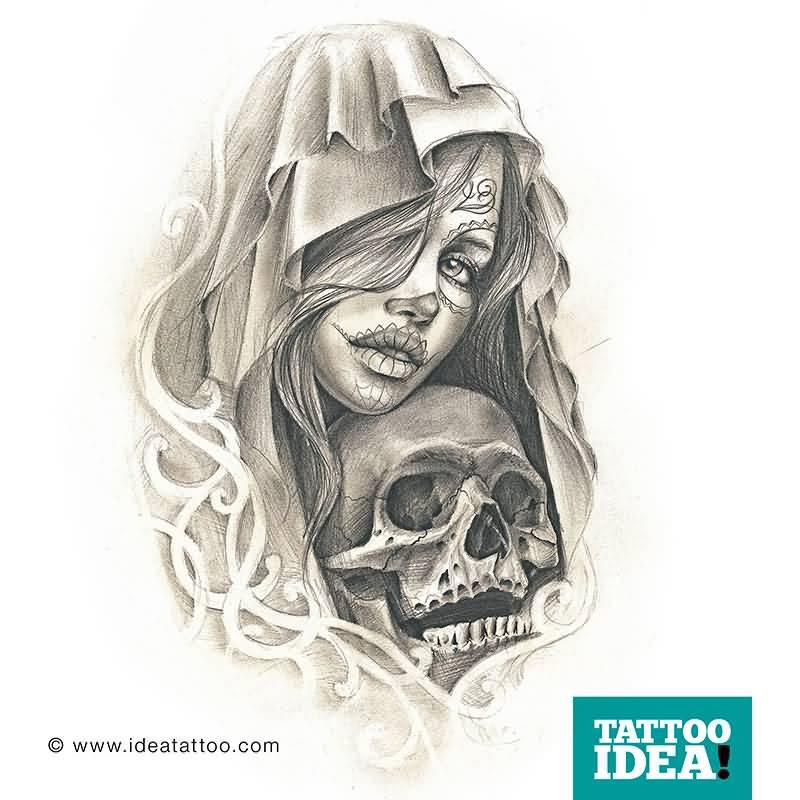 800x800 Skull Catrina Girl Tattoo Drawing