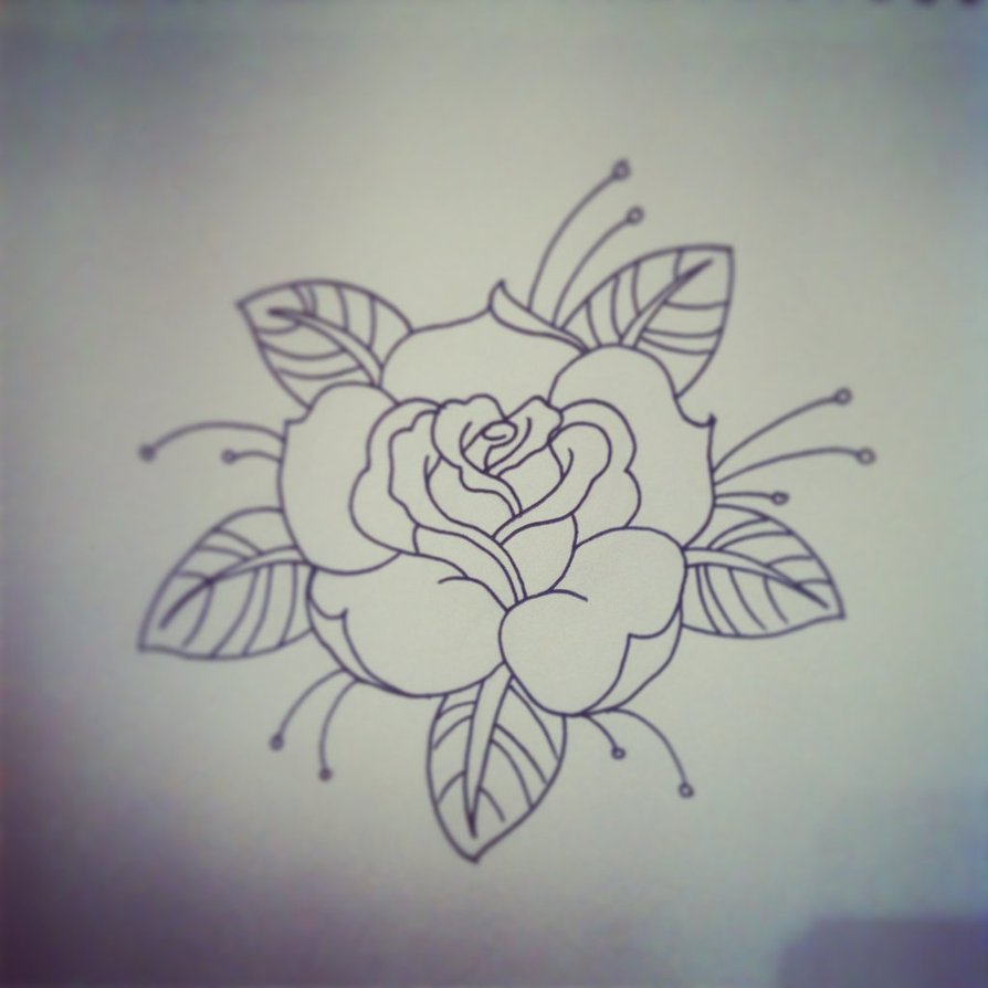 894x894 Traditional Rose Tattoo Traditional Rose Tattoo Linework By