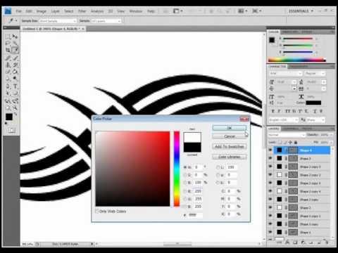480x360 Photoshop Pen Tool Tutorial (Tattoo Design)