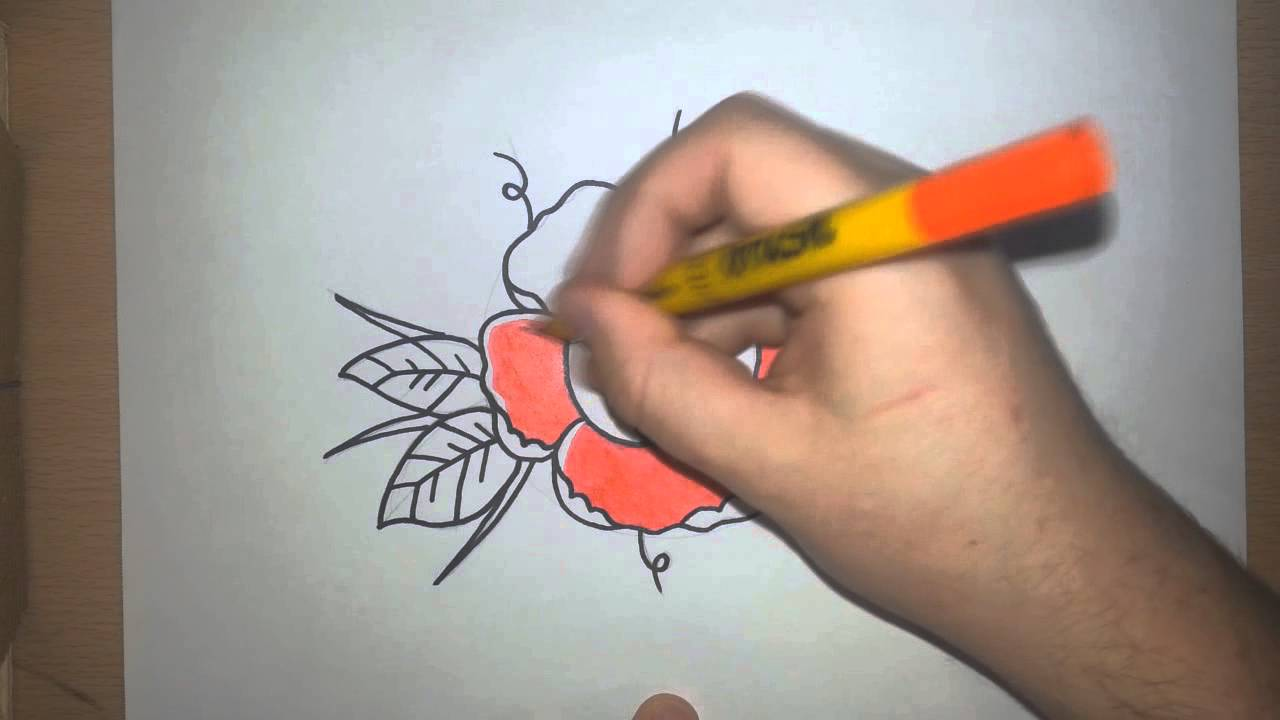 1280x720 Drawing A Traditional Style Rose Tattoo