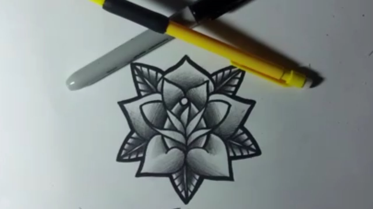 1280x720 How To Draw A Simple Tattoo Flash Style Rose