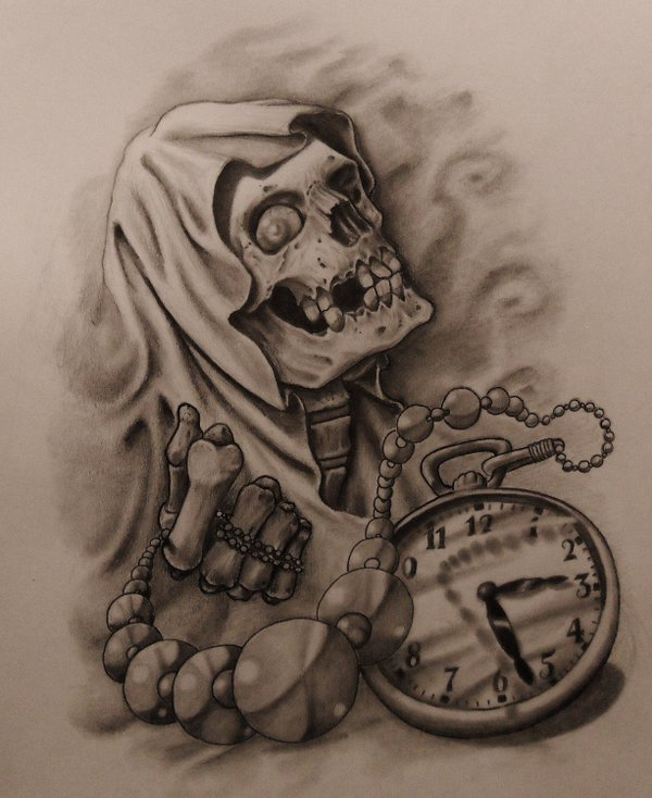 600x734 Reaper And Time Tattoo Sketch By 814ck5t4r Tatoo