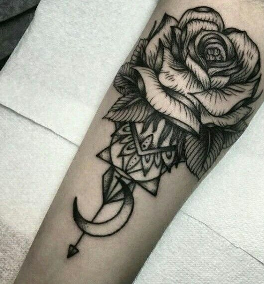 530x571 Love The Rose And Moon Tattoos! Moon, Rose And Tattoo
