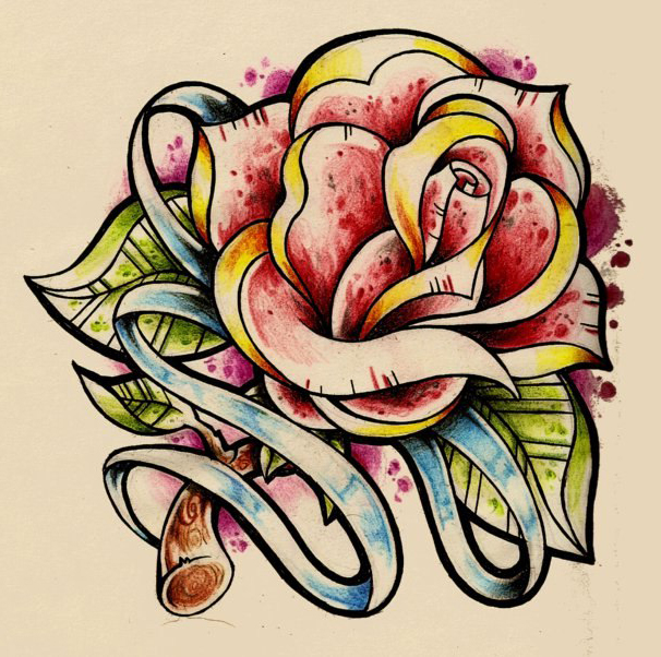 606x602 Traditional Rose Drawing Tattoo With Stripe Best Tattoo Ideas