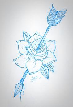 236x346 Rose And Arrow Sketch Modify Arrow, Sketches And Rose