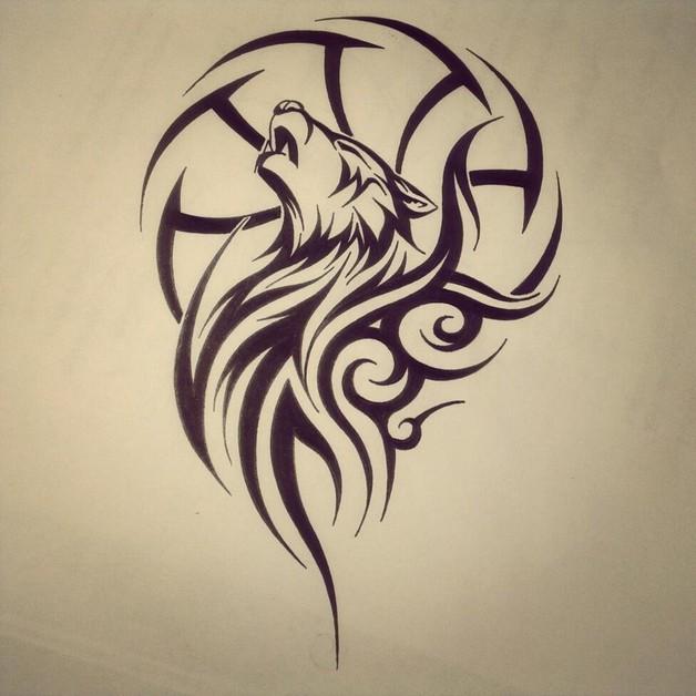 628x628 Tribal Wolf Dream Catcher Tattoo Drawing