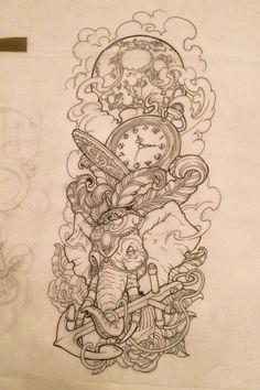 236x354 Sleeve Tattoo Designs Drawings On Paper Design Sleeve Tattoo 2