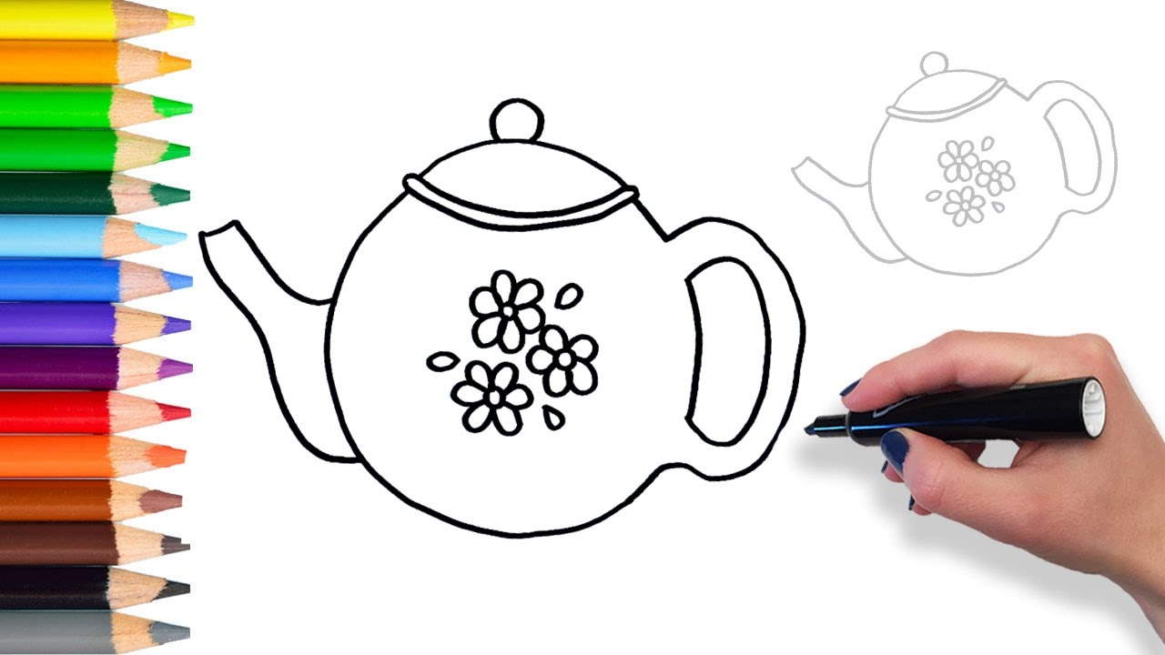 1280x720 Learn How To Draw Teapot Teach Drawing For Kids And Toddlers