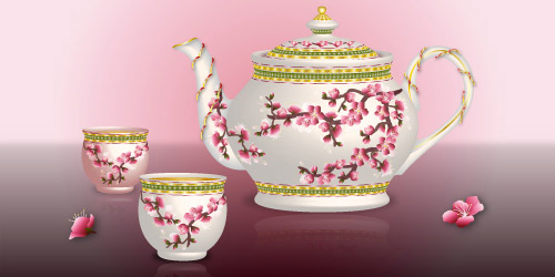 500x250 Premium Tutorial Draw An Oriental Teapot Set