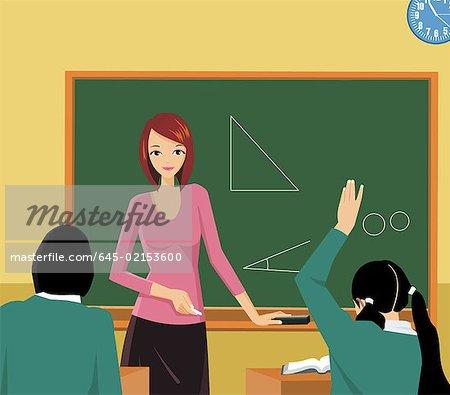 450x395 Front View Of A Teacher Teaching In A Class