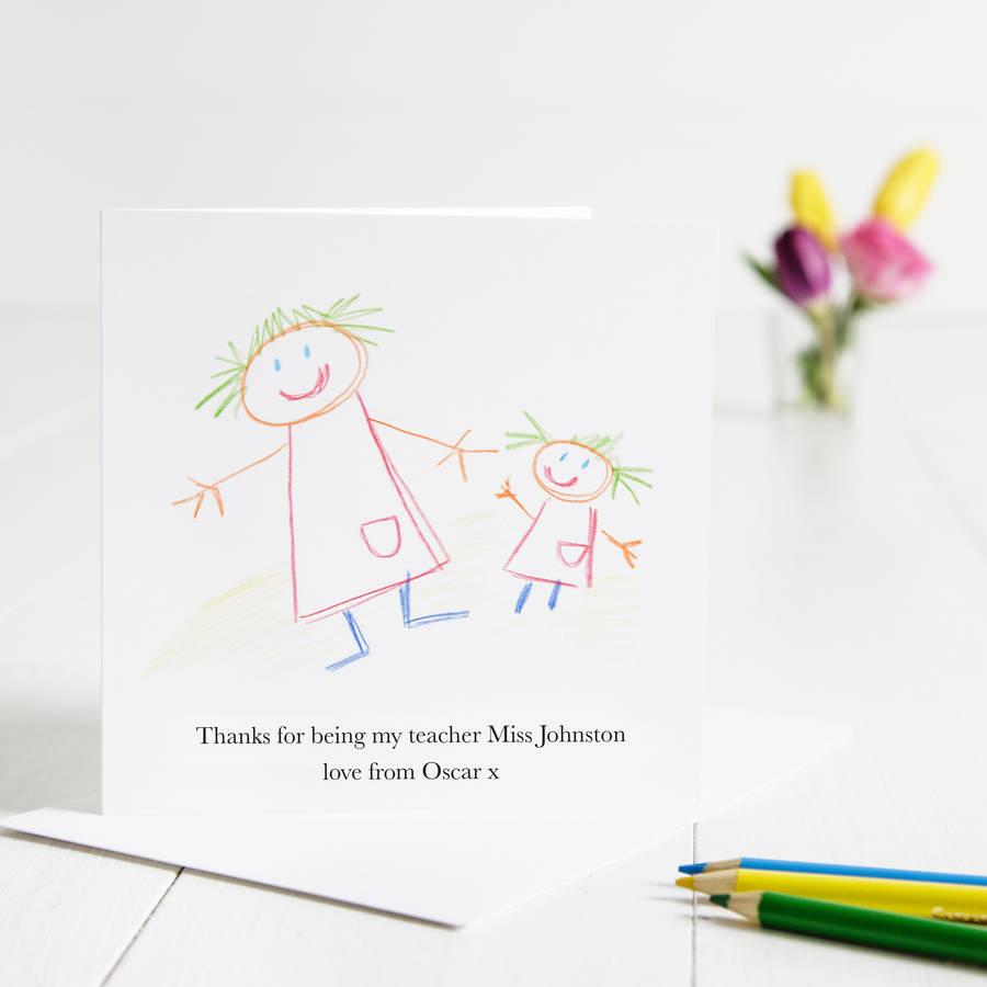 900x900 Childs Drawing Thank You Teacher Card By Twenty Seven