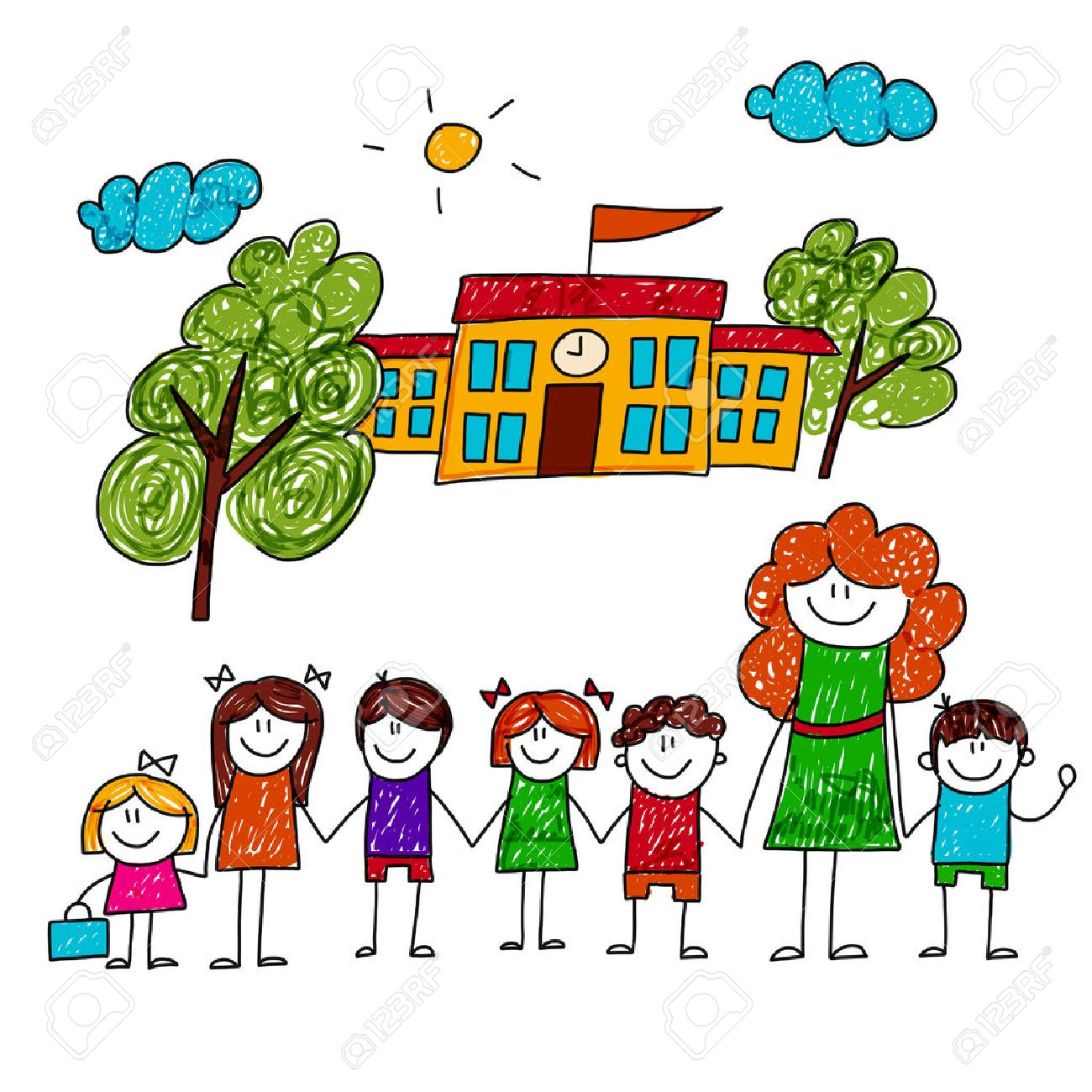 1300x1300 Image Of Happy Children With Teacher. Kids Drawing Royalty Free