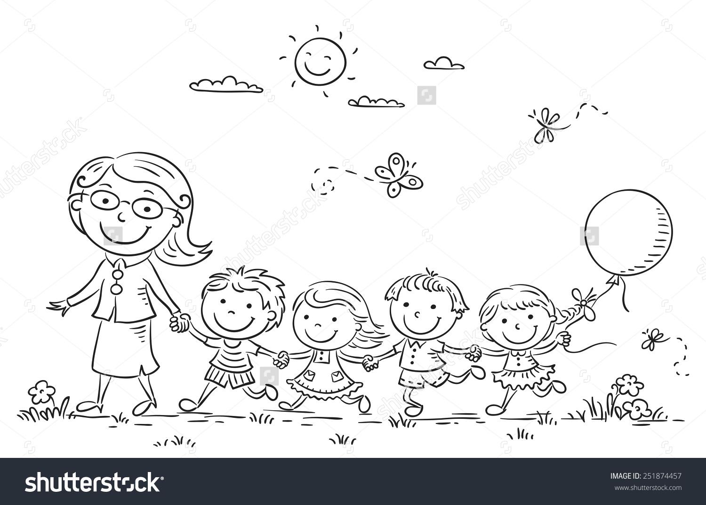 1500x1072 Kids Their Teacher On A Walk In The Kindergarten, Black