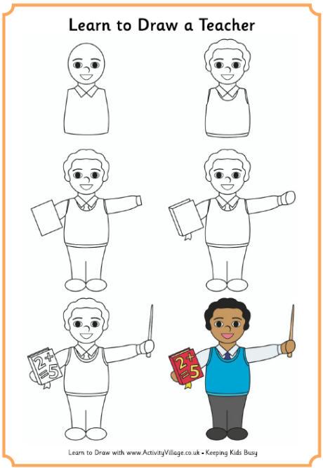 460x667 Learn To Draw A Teacher