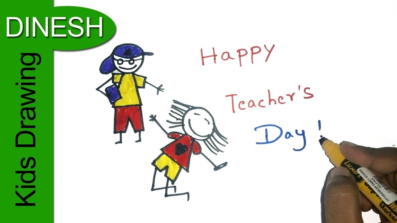 1280x720 Teachers Day Drawing For Kids Color Drawing Happy Teachers Day