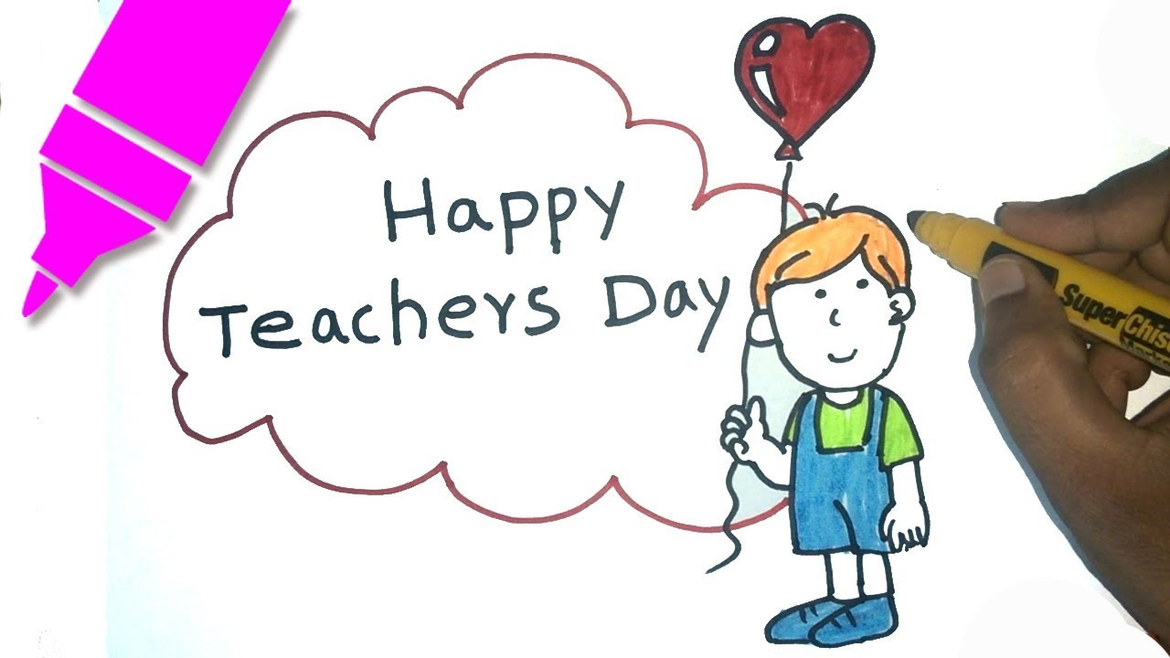 1280x720 Teachers Day Drawing For Kids Step By Step Happy Teachers Day