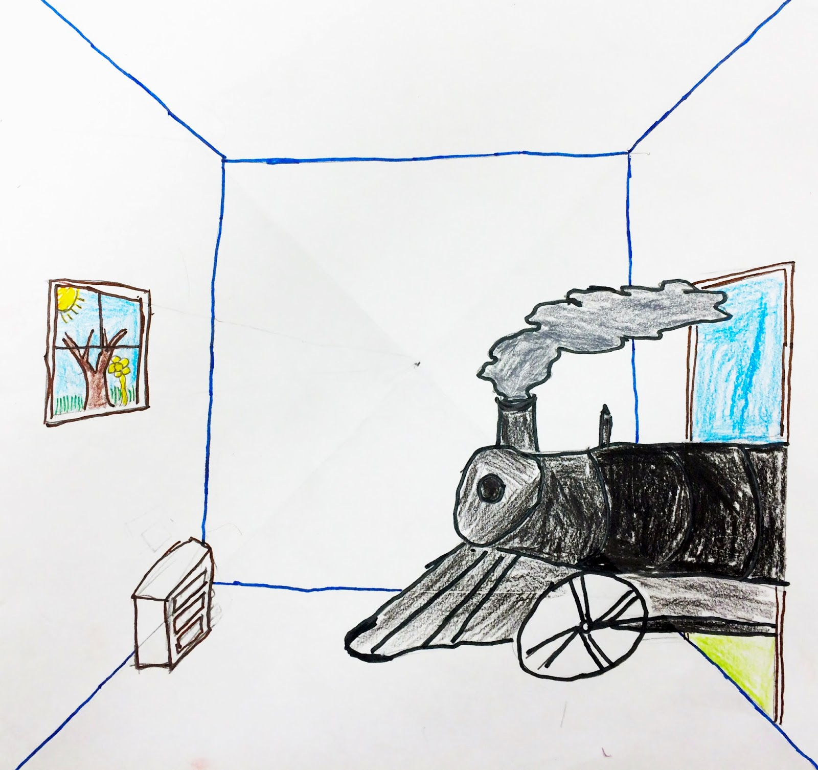 1600x1506 The Helpful Art Teacher Draw A Surrealistic Room In One Point